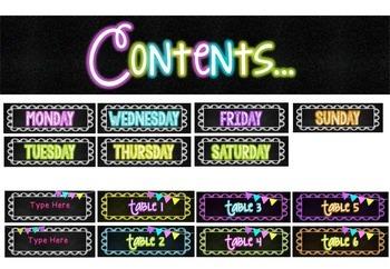 Chalkboard & Neon- Class Set 2 {year2tastic}