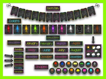 Neon & Chalkboard Calendar Set
