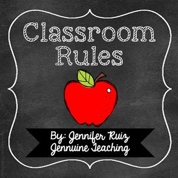 Classroom Rules- Neon Chalkboard