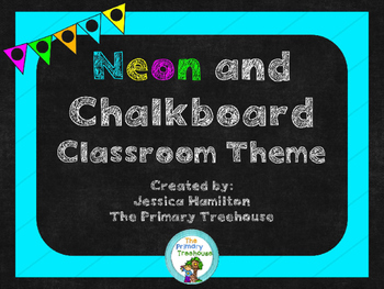 neon chalkboard classroom theme decor editable