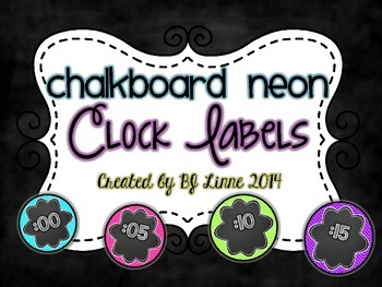 Neon Chalkboard Clock Labels
