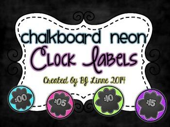 Neon Chalkboard Clock Labels