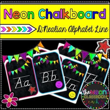 Neon Chalkboard D'Nealian Alphabet Line