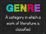 Neon Chalkboard Genre Poster {FREE!}