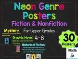 Neon Chalkboard Genre Posters {4-8 Upper Grades/Middle School}
