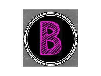 Neon Chalkboard Letter Labels
