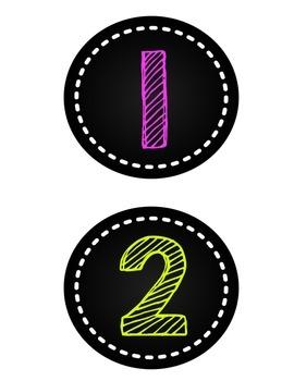 Neon Chalkboard Numbers 1-20