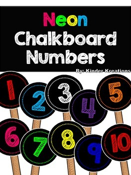 Student Numbers (1-30) - Neon Chalkboard