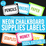 Neon Chalkboard Printable Supplies Labels (Editable!) - 6 Colors!