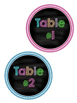 Neon Chalkboard Table Number Signs
