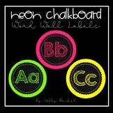 Neon Chalkboard Word Wall Labels