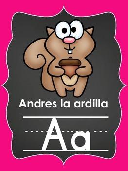 Spanish alphabet posters (chalkboard/neon)