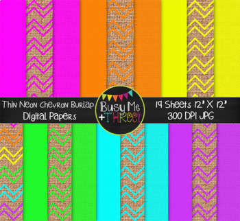 Neon Chevron COMBO Digital Papers {Commercial Use Digital Graphics}