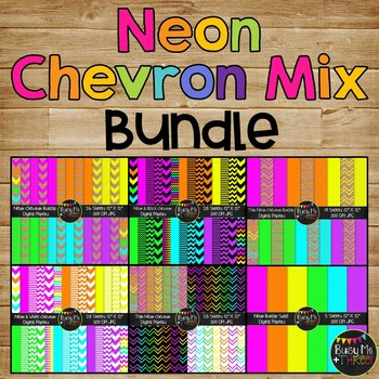 Neon Chevron COMBO Digital Papers {Commercial Use Digital