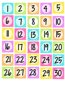 Neon Chevron Calendar Numbers - Small