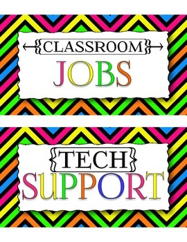 Neon Chevron Classroom Job Cards with SOPHISTICATED Job Titles