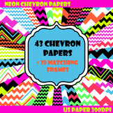 Neon Chevron Digital Papers and Frames for Work books, Cov