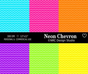 Neon Chevron Paper Pack
