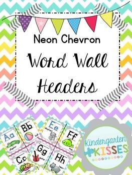 Neon Chevron Word Wall Headers