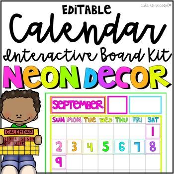 NEON Classroom Calendar Bulletin Board Kit Editable