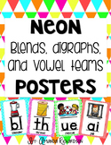Neon Digraphs, Blends, and Vowel Teams Posters
