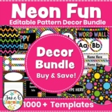 Neon Classroom Decor   Editable Bright Neon Decor Bundle   Neon & Black Theme