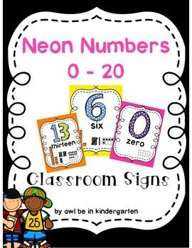 Neon Classroom Numbers 0-20