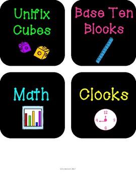 Neon Classroom Organization Labels