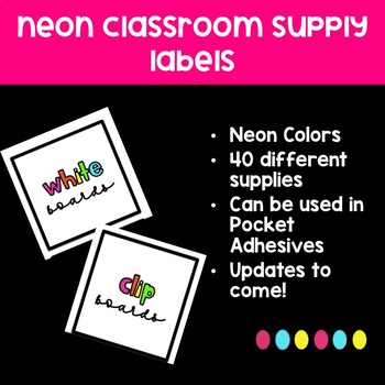 Neon Classroom Supply Labels