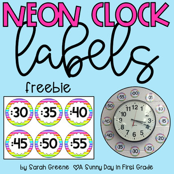 Neon Clock Labels {freebie!}