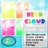Neon Cloud Smoke Rainbow Background Border Frame | Digital Paper | (Boarder)