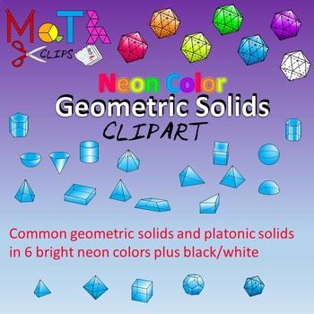 Neon Color Geometric Solids Clipart