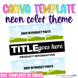 Neon Color Theme Product Cover Templates | EDITABLE in CANVA |
