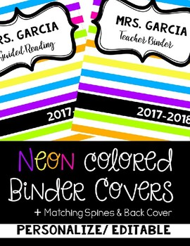 Neon Colored Binder Covers- Editable