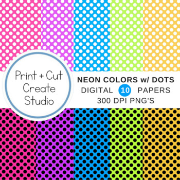 Neon Colored Digital Papers with Polka Dots ~ Commercial Use Allowed