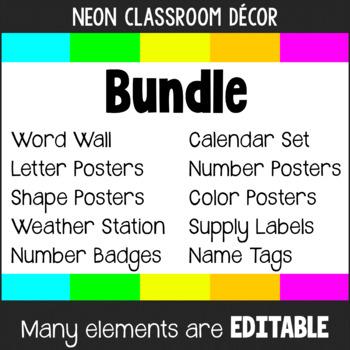 Neon Colors Classroom Decor BUNDLE