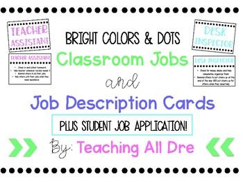 Bright Colors & Dots Classroom Jobs Set