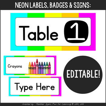 Neon Colors - Labels for Everything!