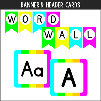 Editable Neon Colors Word Wall