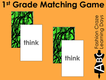 1st Grade Sight Word Matching Cards