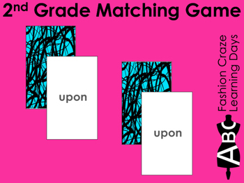 2nd Grade Sight Word Matching Cards