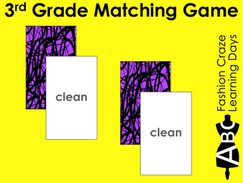 3rd Grade Sight Word Matching Cards