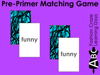 Pre Primer Sight Word Matching Cards