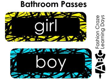 Neon Crackled Bathroom Passes