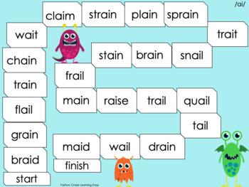 Long Vowels with Beginning Blends, Digraphs, ai, ea, ee and oa