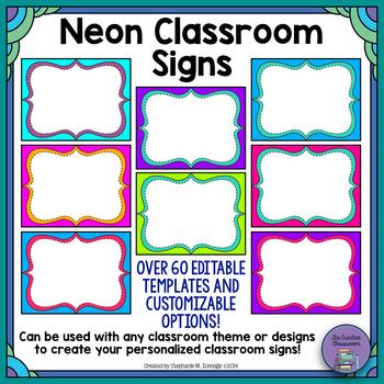 Neon Customizable Classroom Signs