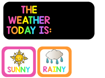 Neon Days of the Week and Weather  Cards