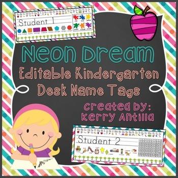 Neon Dream Editable Kindergarten Desk Name Tags