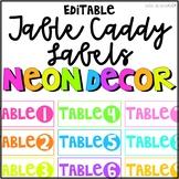 NEON Classroom Decor Table Caddy Labels Editable NEON DECOR