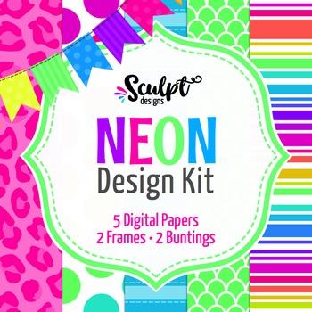 Neon Design Kit ~ Digital Papers, Frames & Buntings
